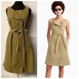 J CREW Army Green Garment Dyed Trench Dress